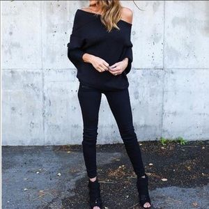 Tops - Off shoulder batwing rib knit sweater top